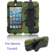 silicone heavy duty military hybrid rugged belt clip holster kickstand shockproof weterproof case for ipod touch5