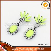 Big Dangling Earrings Cluster Earrings Cameo Faceted Stone Drop Earrings