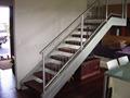 Escada de ferro forjado/madeira piso prefab metal trilhos da escada