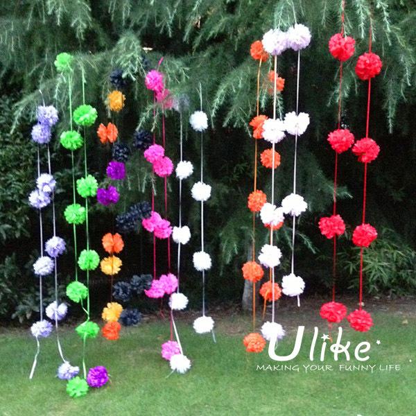 Thick Tinsel Garland Wedding Rose Petals Garlands White Handmade Flower PomPom