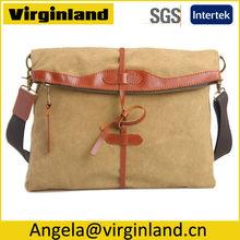 2014 Popular Design Ladies Khaki Canvas Leather Satchel Handbag Tote Messenger Bag Wholesale