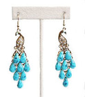 Fashion Earring- Imitation Gold peacock with Clear gem inlay and Blue opal as an eye with Blue stones that dangling like feather