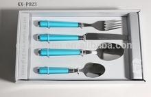 Blue Plastic Handle Stainless Steel Flatware Set