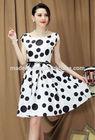 short sleeve polka dot printed dress