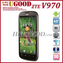 4.3'' IPS MTK6577 Dual Core 1G RAM 4G ROM Dual SIM 3G Android smart phone ZTE V970
