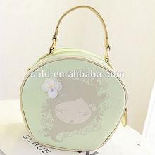 Korean style Graffiti girl & Little flower ladies fancy cheap shiny handbags