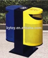 Street galvanized waste bin with ashtray