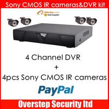 """1200 tvl cctv camera, 1/2.5"""" SONY CMOS IMX 138 Sensor CCTV Color Outdoor IR Camera And 4 channel DVR"""