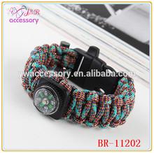2014 desert survival bracelet,paracord bracelet with compass and flintstone