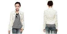 China supplier Wholesale New women's PU leather jacket White Motorcycle leather jacket custom