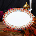 Luxury Fine Super White Porcelain 12 Inches Oval Dinner Plate of Persian Market