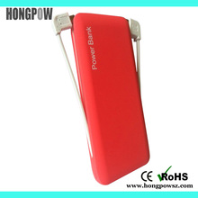 CE/FCC/ROHS promotional gift rubber 5000mah built in cable wireless power bank charger for smartphone