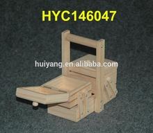 FSC raw wooden accordion sewing box