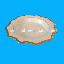Antique White Porcelain Soup Plate With Gold Rim