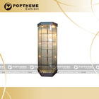 360 degree visual LED wooden display cabinet with glass door