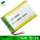 382846 rechargeable 3.7v 400mah li-polymer battery for drill made in china