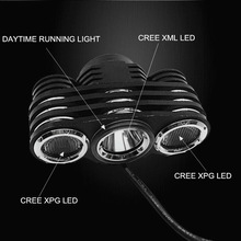 JEXREE Multi-Function High Power Max Brightness1800Lm 1xCREE XM-L2+2xXPG LED waterproof cree led bike helmet light mount