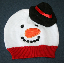 knitted baby christmas snowman toque beanie hat