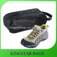 Personalized Double Zipper Black Mesh Nylon Travel Shoe Bag