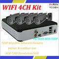 720p 3.6 mm de la lente& deinterior al aire libre cámara de redinalámbrica wifi 4ch kit