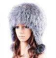 Plata cx-c-114 de piel de zorro de las mujeres rusas de invierno sombrero de piel
