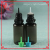 PET black plastic e liquor bottle with childproof can tamper ring cap