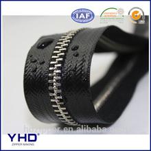 waterproof metal zipper with water resistant film