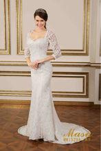 New design elegant lace 3/4-length sleeve court train mermaid ivory backless wedding dresses 2015 bridal wedding dress