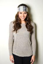 Lace and Polka dots Print Silk Headband Turban Ear Warmers Hair Wrap
