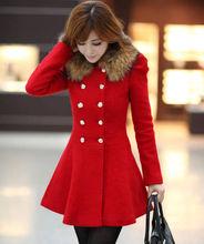 D51501J 2014 autumn and winter imitation fox fur woolen double-breasted women's long coat