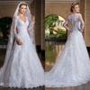 Custom Made vestido de noiva 2014 A-Line See Through Back Long Sleeve Wedding Dresses vestidos de noivas 2014 sexy