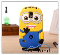 3D Despicable Me Yellow Minion Soft Silicone Skin Case Cover for Galaxy S5 I9600,minion case for samsung galaxy s4 mini i9190