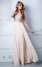 Crystal beaded Chiffon floor length sheath evening dresses with long sleeves