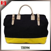 Wholesale canvas tote bag leather handle waxed canvas shoulder bag