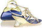 Royal blue sexy high heel shoe thick heels