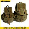 China Wholesale Customized Casual Army Green Big Camping Canvas Backpack For School