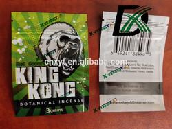 King kong 3g herbal incense bag/customized King kong potpourri bag with zipper