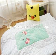 Yellow and green plush children blankets/blanket with plush toys/children cartoon blanket