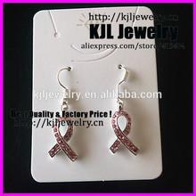 KJL-A0336 Wholesale Breast Cancer Earring,Pink Rhinestone Plated Ribbon Charm Dangle Earring