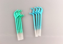 FDA approved plastic dental floss toothpick with interdental brush