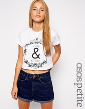 PETITE Exclusive Rolled Sleeve Crop Top With Cake and Kittens Print