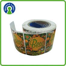 plastic roll adhesive design sticker ,customized printed pet juice bottle label