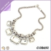 Faceted Gem Big Chunky Decorated Crystal Clear Rhinestone necklace