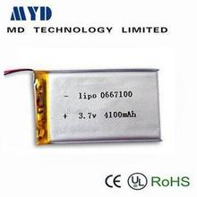 Best quality lipo battery 3.7V/li-polymer 3.7v 4100mah battery for GPS,Toys,Cell phone