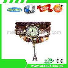 Romantic Eiffel Tower Charm Black Color Women Ladies Weave Leather Belt Bracelet Watch