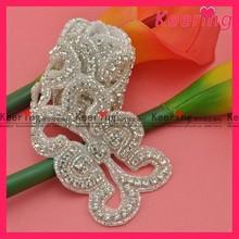 wholesale fashion elegant bridal dress decoration beaded rhinestone trim appliques WRA-422