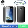 New slim Hotknot Android4.4kk 4G LTE Quad core mtk6582 mobile phone shop names with GMS license LB-H451 OEM ODM