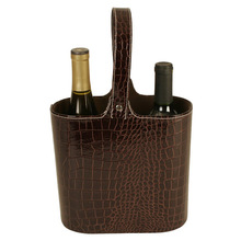 two bottle design personalized vintage brown crocodile leather wine carrier
