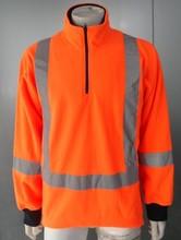 DFS-P016 100% Polar Fleece Hi Vis orange Polo sweater with Reflective Tape