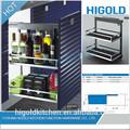 de alta calidad nuevo diseño de la fábrica de hecho de la cocina estante de alambre y la cesta de gabinete